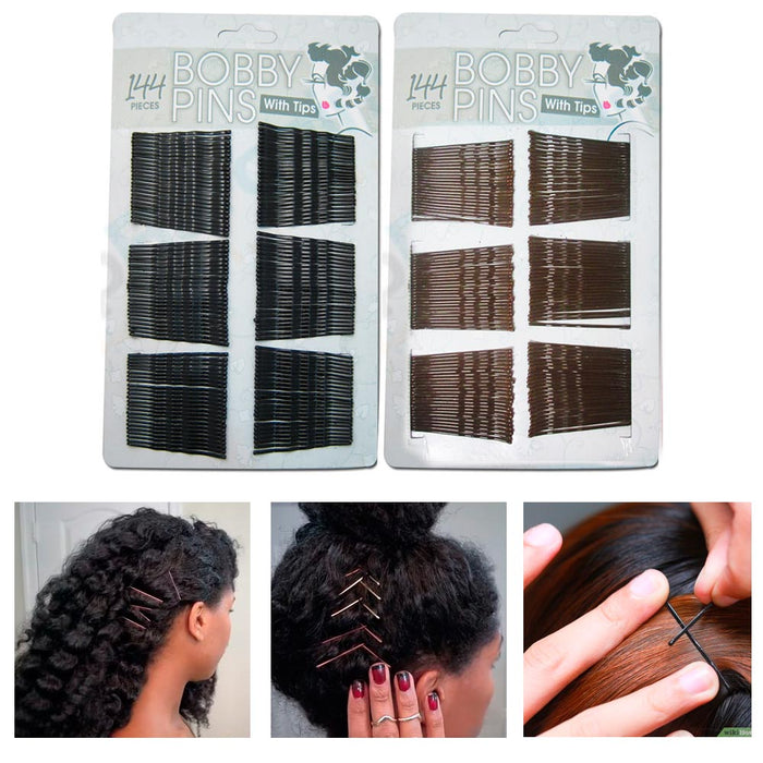144 Pcs Fashion Hair Styling Bobby Pins Ladies Girls Clips Grips Salon Black New