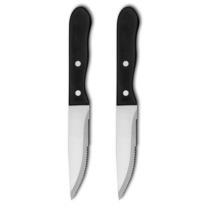 2x Stainless Steel Jumbo Steak Knives Large Kitchen Knife Plastic Handle Utensil