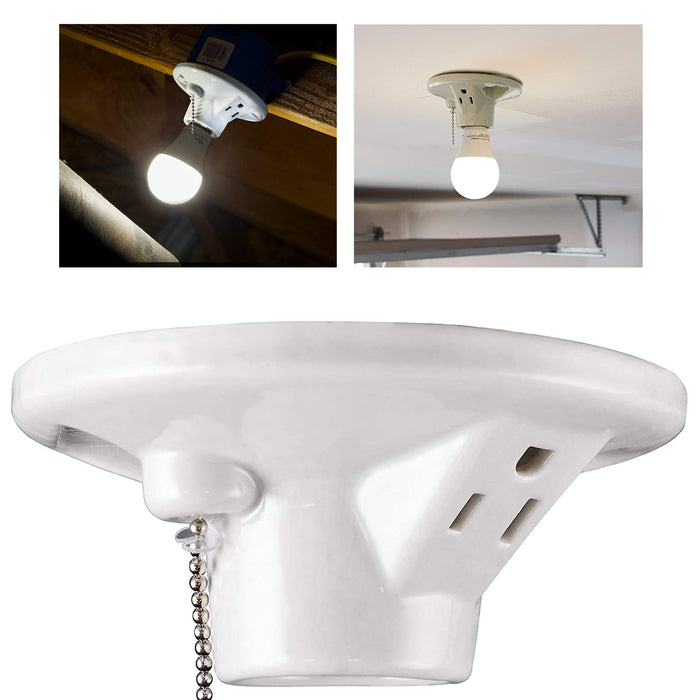 1 Porcelain Ceiling Lamp Holder With Socket Pull Chain Bulb Mount Light Fixture