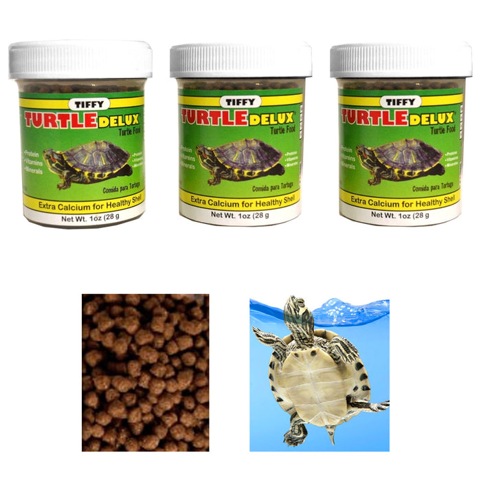 3 Pack Turtle Deluxe Food Extra Calcium Shell Protein Vitamin Aquatic Aquarium