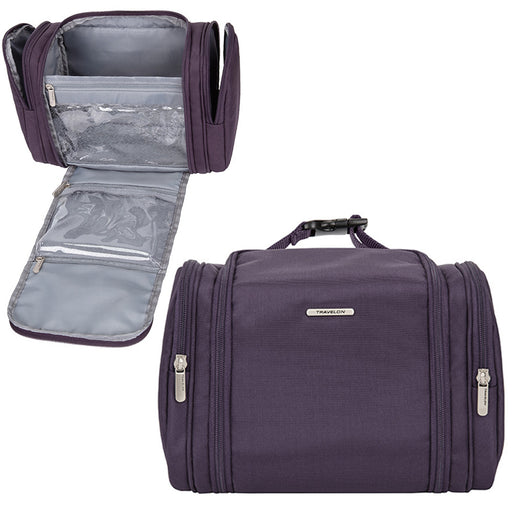 Travelon Anti-Theft Hanging Toiletry Bag Kit RFID Blocking Travel Organizer Plum