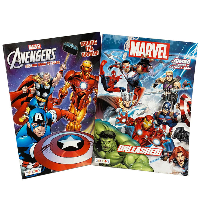 2 PC Avengers Coloring Books Jumbo Color Fun Activity Superheroes Kids All Ages