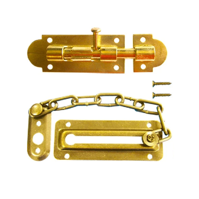 2 Pc Gold Door Guard Bolt Set Chain Latch Slide Lock Home Security Hardware
