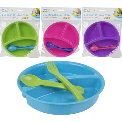 2 Pk Baby Feeding Bowl Dish Divided 3 Sections Kids Plate Toddler Child BPA Free