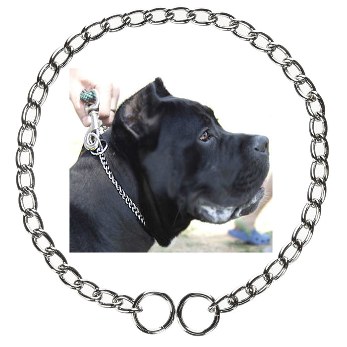 "2 Pc Dog Puppy Training Choke Chain 20"" Giant Slip Collar Metal Heavy Duty"