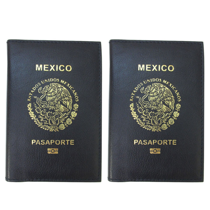 2 Pc Mexico Passport Cover Travel ID Card Cash Wallet Holder Leather Case Blue