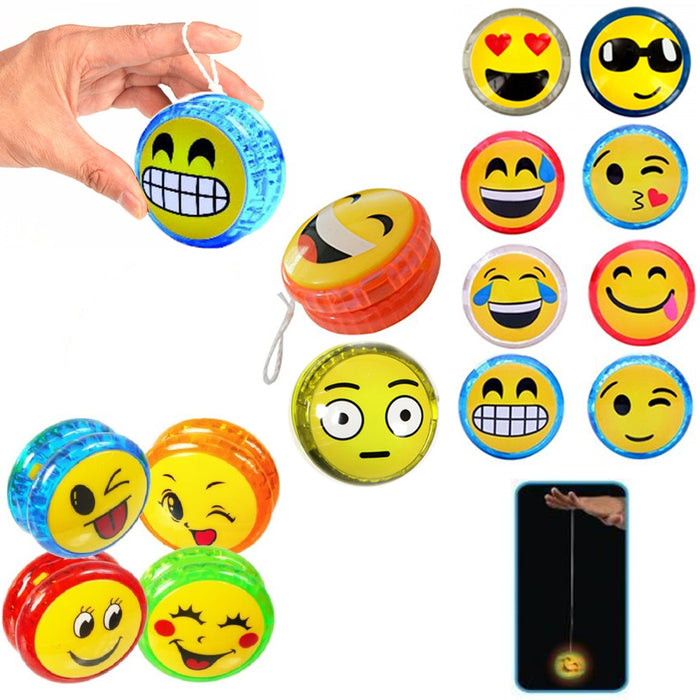 4 X Emoji YoYo Emoticon Light Up Yo Yo Party Favor Classic Toy Children Game Kid