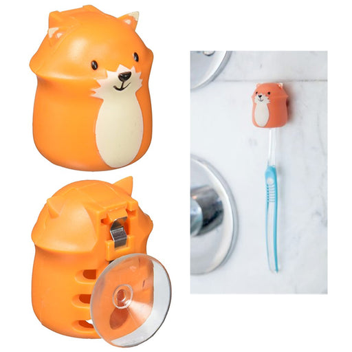 1 Kikkerland Fox Toothbrush Cover Holder Case Toiletry Cute Kid Bathroom Suction