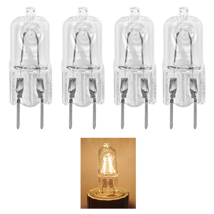 4 Pc Bi-Pin Halogen Light Bulb Replacements 25W 120V G8 Clear Capsule Base