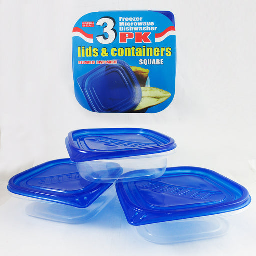 3 Food Container Freezer Microwave Dishwasher Safe Lids Plastic Lunch BPA FREE