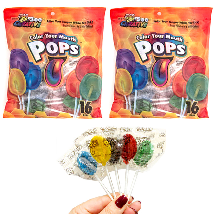 32 Pc Lollipops Colorful Tongue Pops Sucker Stick Candy Lollypops Party Favors