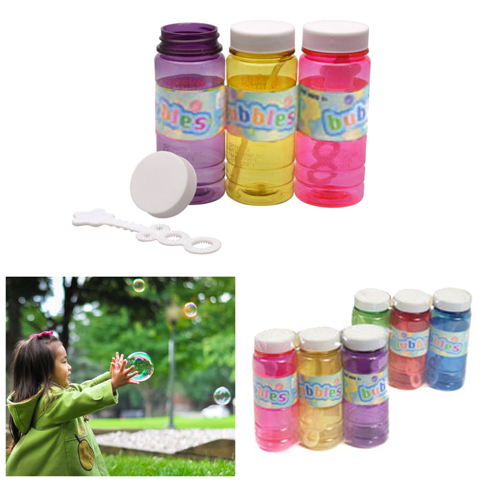 6pc Bubble Liquid Soap Solution Bubbles Maker Outdoor Kids Fun 4 Oz Party Favors