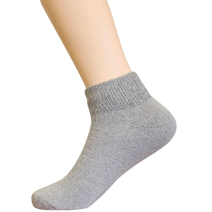 3 Pair Diabetic Ankle Circulatory Socks Health Support Mens Fit Grey Size 9-11
