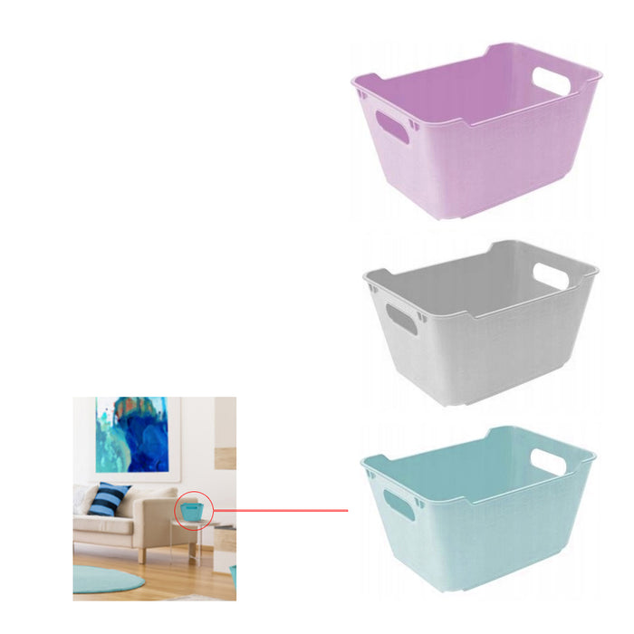 "3 Home Decor Mini Storage Boxes Bins Stackable Tub Container Basket 7.5""L X 4""H"