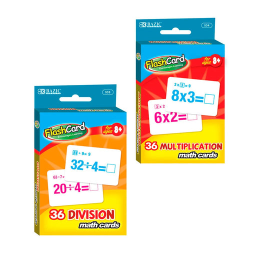 Set of 2 Learning Flash Cards Multiplication Division Numbers Math Educational !