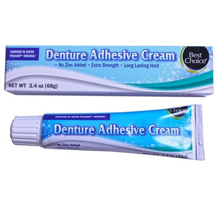 2 Pc Extra Strength Denture Adhesive Cream 2.4oz Gums Strong Hold Zinc Free Oral