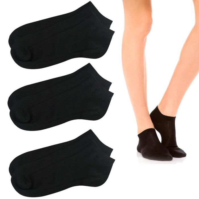 3 Pairs Womens Ankle Socks Low Cut Fit Crew Size 6-8 Sports Black Footies