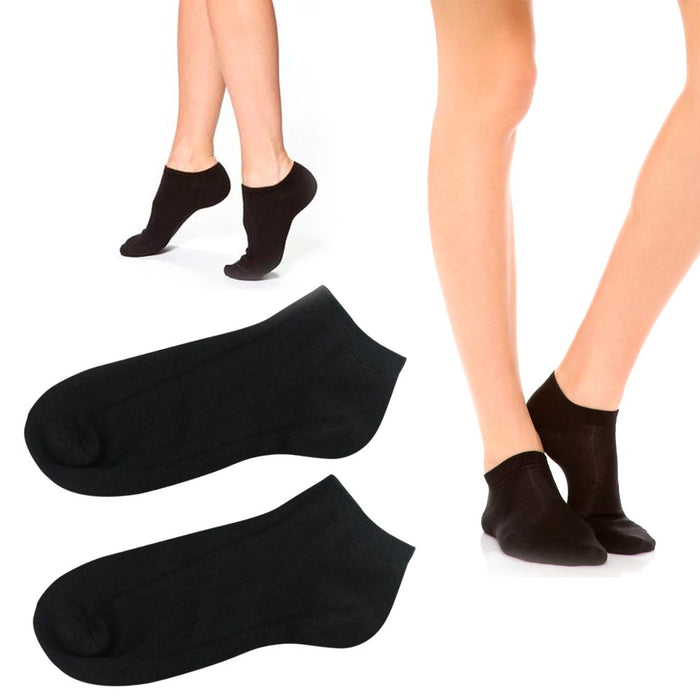 3 Pairs Womens Ankle Socks Low Cut Fit Crew Size 9-11 Sports Black Footies