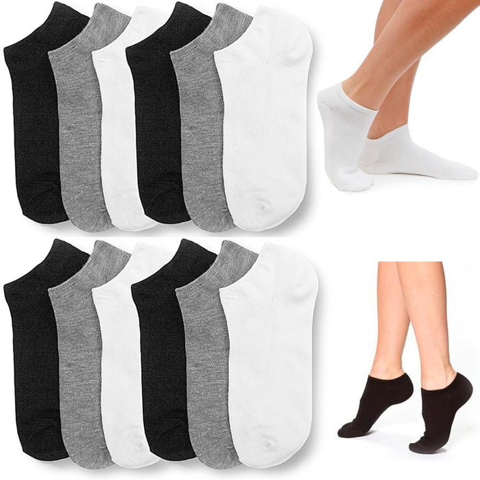 12 Pair Women Ankle Socks Ped Low Cut  Fit Crew Size 9-11 Sport Black White Grey