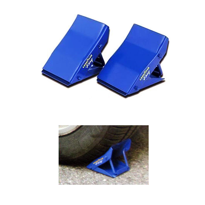 2 Anti Skid Metal Wheel Chocks Car Truck RV Camper Trailer Tire Stop Mount Wedge