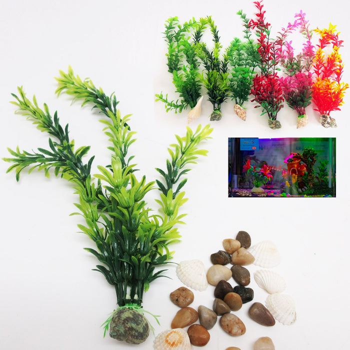 3 Pcs Artificial Aquarium Tank Grass Plant Lush Decor Shells Terrariums Fish Sea