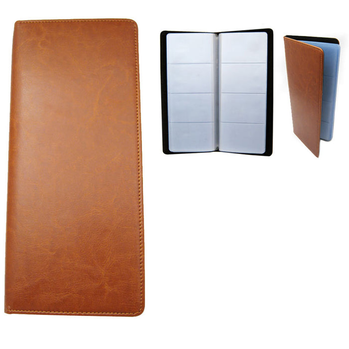 Faux Leather Business Name Credit ID 96 Card Organizer Holder Tan Book Office