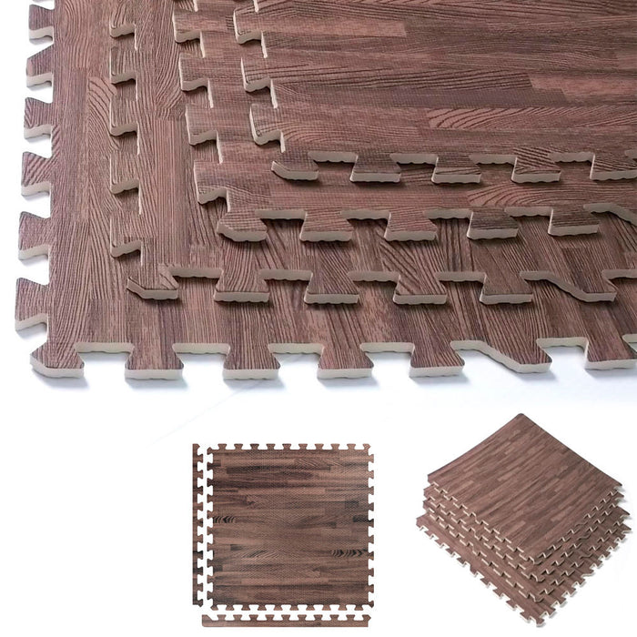 32 Sq Ft Dark Wood Interlocking Floor Mats EVA Foam Premium Gym Puzzle Mat Tile