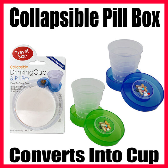 Travel Drinking Cup & Pill Box Medicine Collapsible Plastic Case Holder New Gift