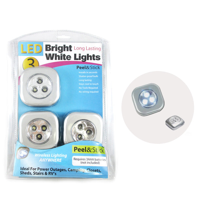 3 LED Bright White Push Touch Lights Peel Stick Long Lasting Camping Closets !