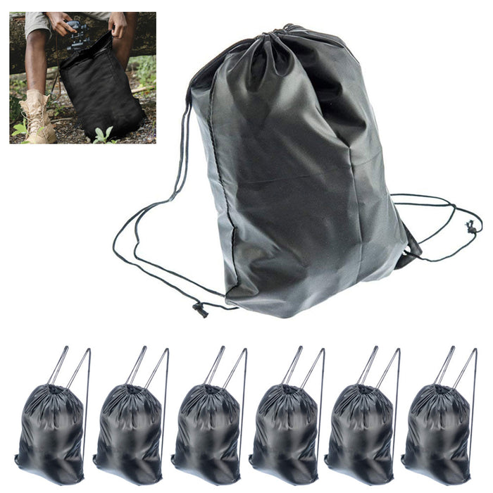 6 Pack New Drawstring Bag Cinch Sack Gym Tote School Sport All Purpose Back Pack