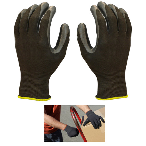 1 Pair Nitrile Coated Gloves Packing Receiving Work Hand Palm Safety Large