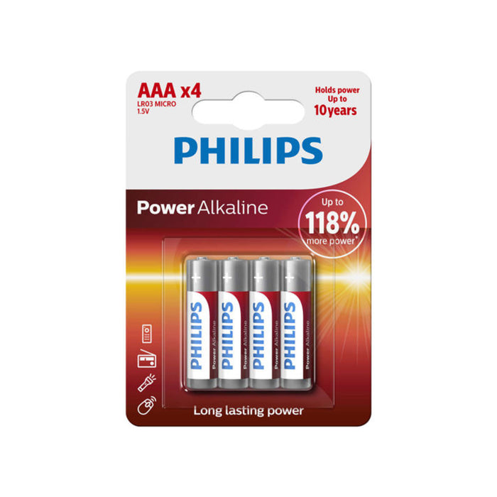 Pack 12 Philips AAA 1.5V Alkaline Batteries Size Power LR03 Micro AM4 EXP 2026