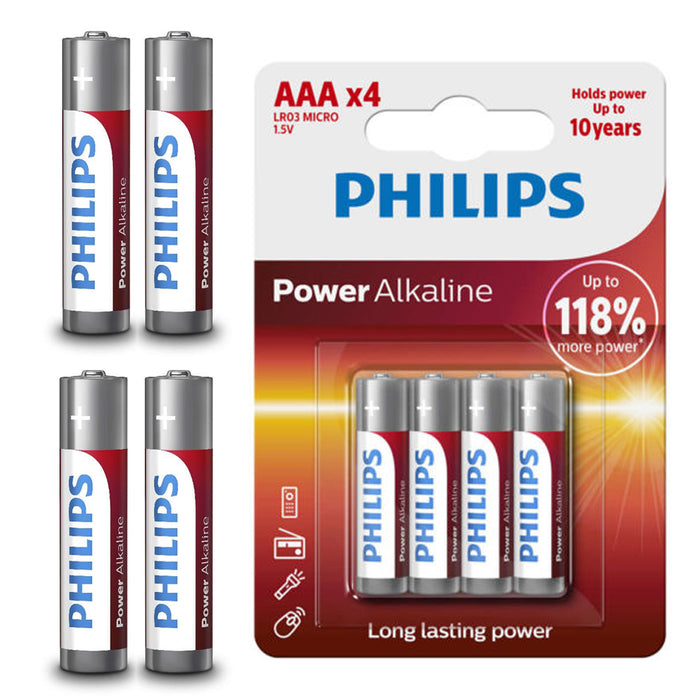 96 PCS Philips AAA 1.5V Alkaline Batteries LR03 AM4 Bulk Long Lasting Exp 2026
