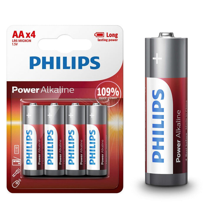 144 Philips AA Power Alkaline Double A Batteries LR6 1.5V Long Lasting Exp 2026
