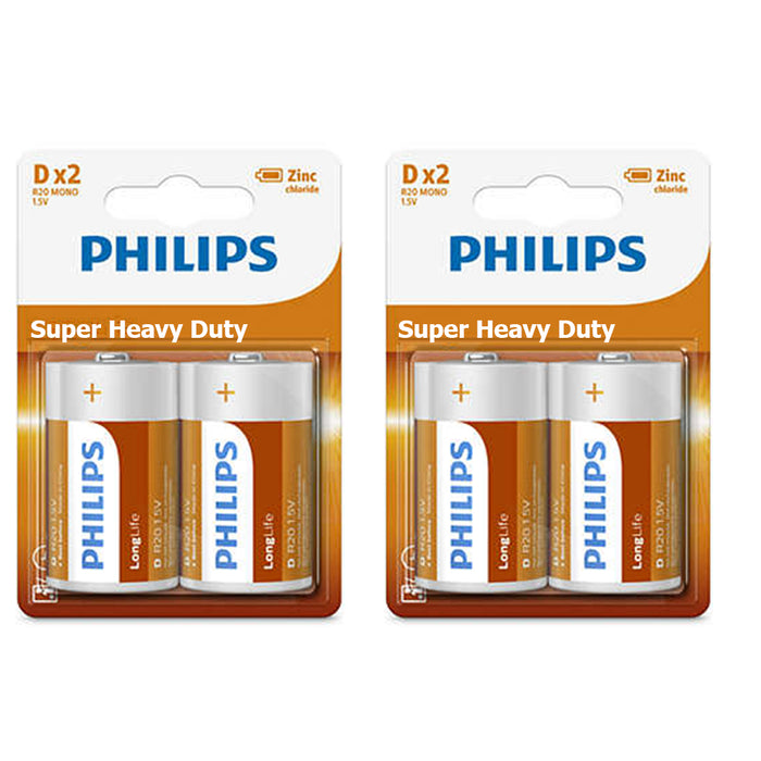 4PC Size D Philips Super Heavy Duty Battery 2PKS x 2PCS= 4Pcs Batteries 2019