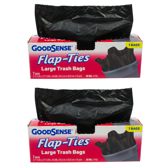14 Ct Large Trash Bags 30 Gallon Capacity Flap Tie Home Garden Multi Use Black
