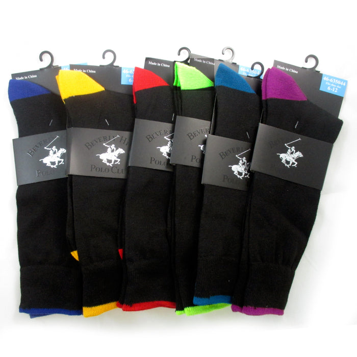 6 Pairs Beverly Hills Polo Club Mens Dress Socks Shoe Size 6-12 Casual Patern Bk