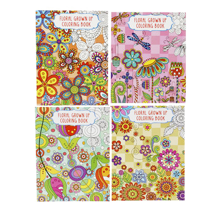 6X Adult Coloring Books Floral Designs Color Pages Stress Relief Relax Paperback
