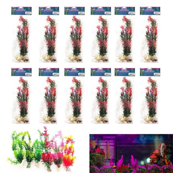 12 Pcs Aquariums Fish Tank Artificial Decorations Lush Grass Plants Terrariums