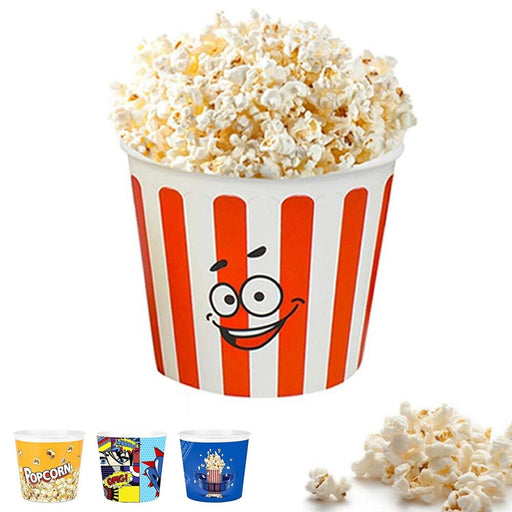 "1 Retro Style Reusable Plastic Popcorn Bowl Container Bucket 7"" Tall Movie Night"