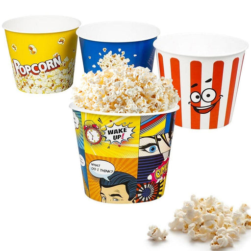 3 Pc Large Plastic Popcorn Theater Home Movie Night Reusable Serving Bowl Bucket
