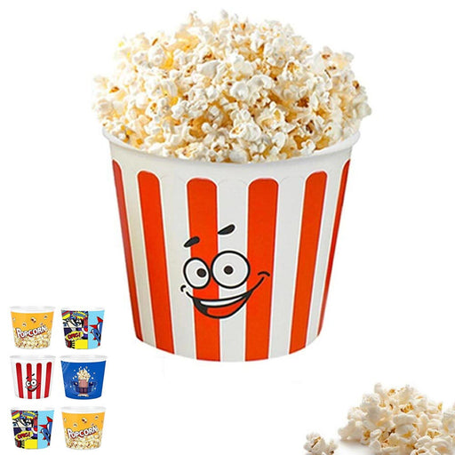 Set of 6 Large Popcorn Bucket Plastic Container Box Tub Bowl Home Movie Theater