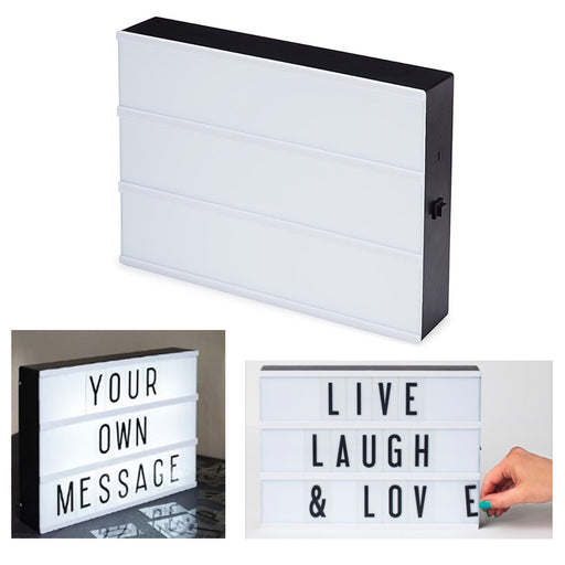 1 Cinema Light Box 100 Characters DIY Glow Up Letter Sign Message Marquee Mount