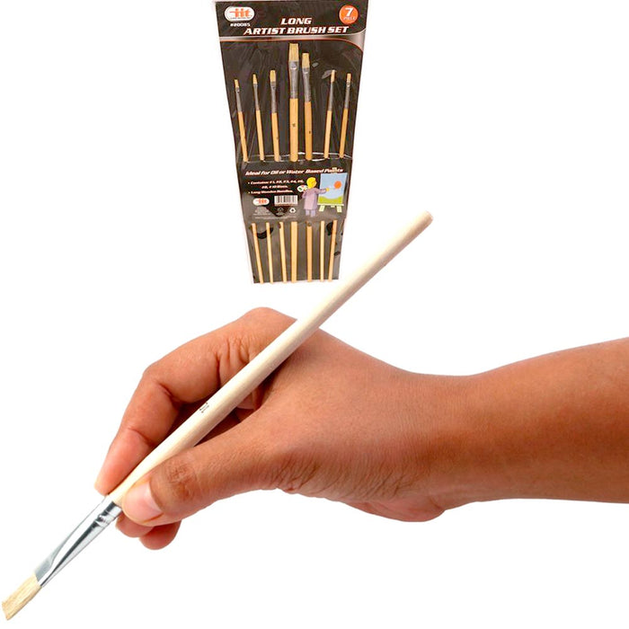 Paint Brush Set 7 Brushes for Acrylic Oil Watercolor Gouache Artist Long Wooden
