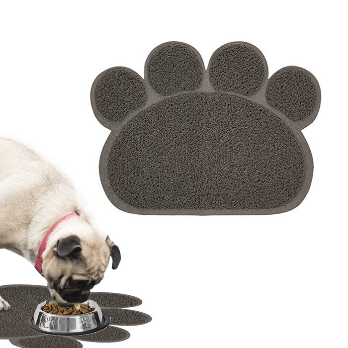 1 Paw Print Pet Bowl Mat Dog Cat Food Water Placemat Non Skid Easy Clean Feeding