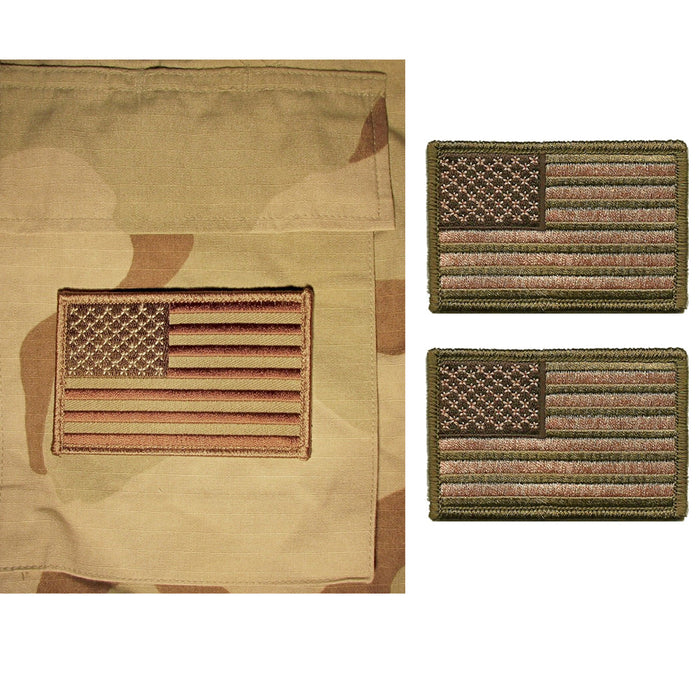 2 Pc USA AMERICAN FLAG TACTICAL US MORALE MILITARY DESERT FASTEN PATCH EMBLEM