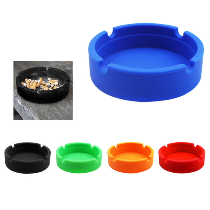 2 X Silicone Ashtray Shatterproof Cigarette Butt Cigar Ashes Bucket Pipe Holder