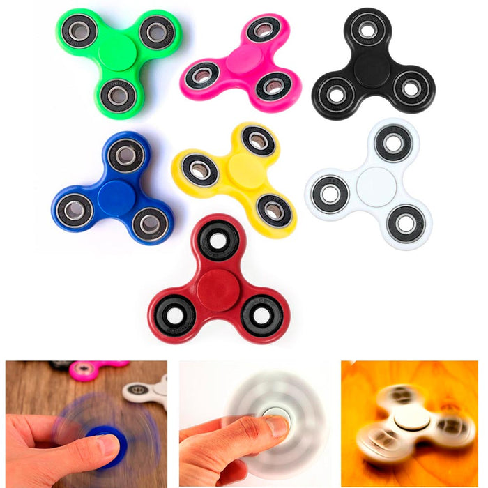 6 Pc Tri-Spinner Fidget Toy Metal Ball EDC Hand Finger Spinner Desk Focus ADHD