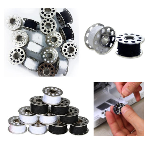 30 Pc Bobbins Pre Filled Sewing Machine White Black Thread Metal Casing Spool