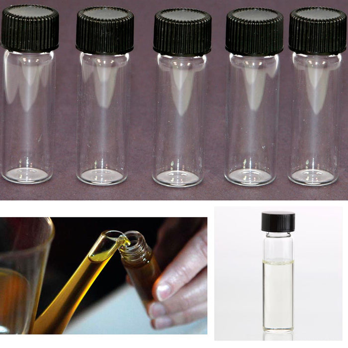50 Mini Clear Glass Vial Bottles Cap 2 3/16 Tall 6 mL Gold Panning Prospecting